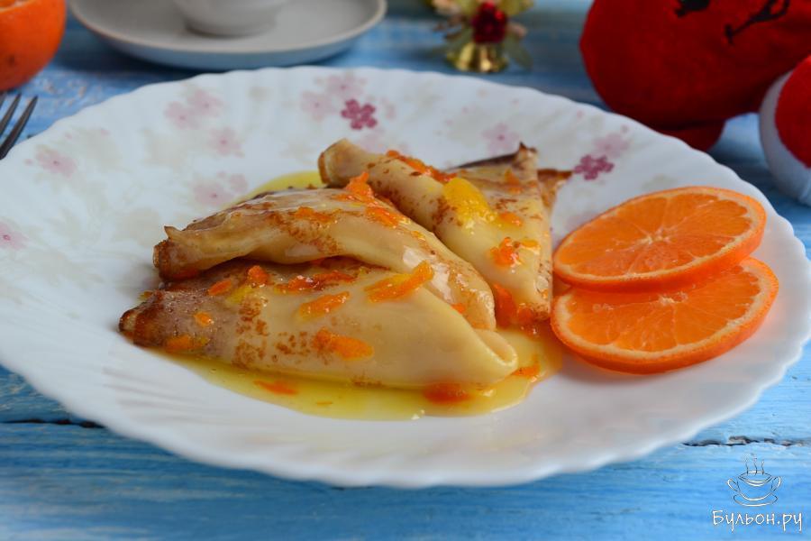 Выложить блинчики на тарелку и по-желанию, при подаче произвести фламбирование. Приятного аппетита.