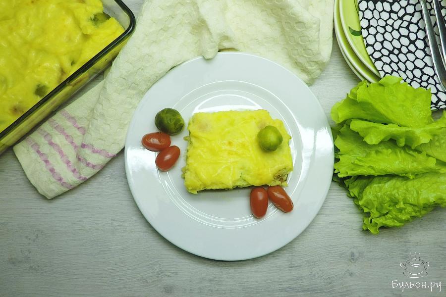 Запеканка с брюссельской капустой готова. Немного остудите и подавайте к столу. Приятного аппетита