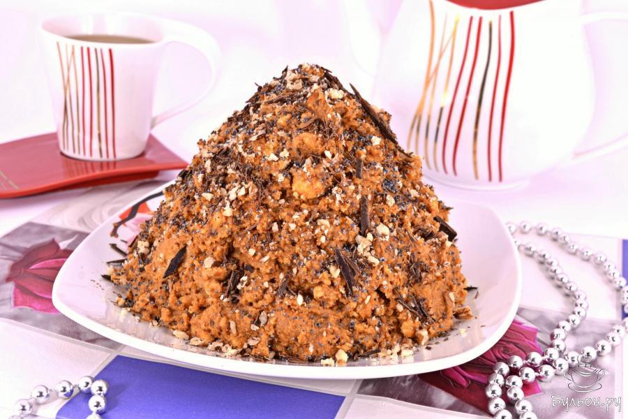 Торт муравейник из печенья без выпечки с фото