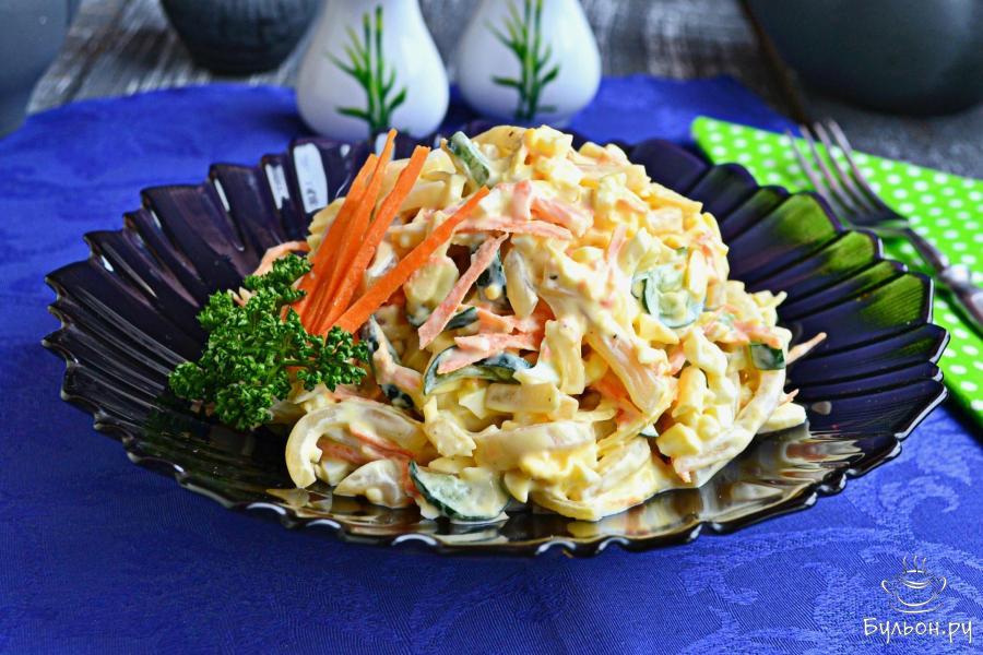 Салаты из кальмаров рецепт с очень вкусный пошаговый рецепт с