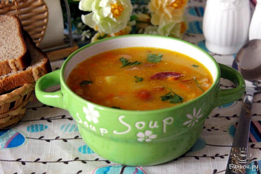 гороховый суп с курицей и копченостями рецепт