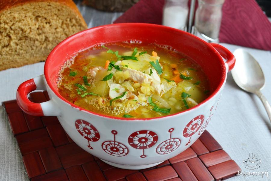 Куриный суп с красной чечевицей