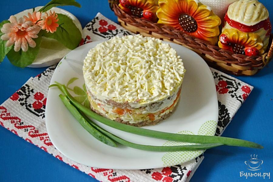 салат слоеный с тунцом рецепт с фото пошагово