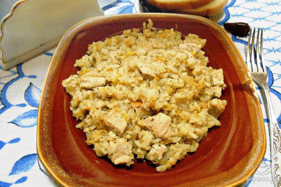 рис с свининой на сковороде рецепт с фото