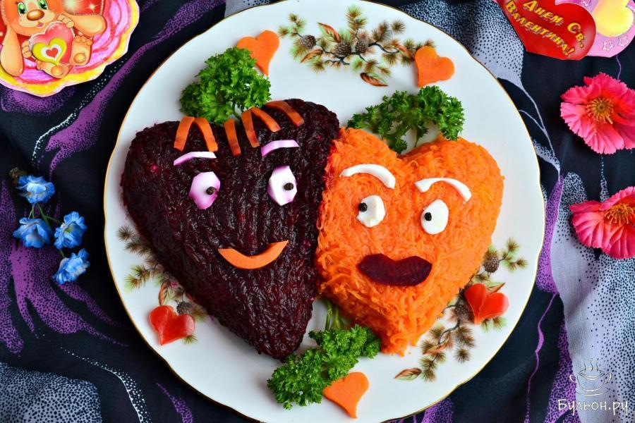 этого рецепты салатов с фото в виде сердца можно украсить дом