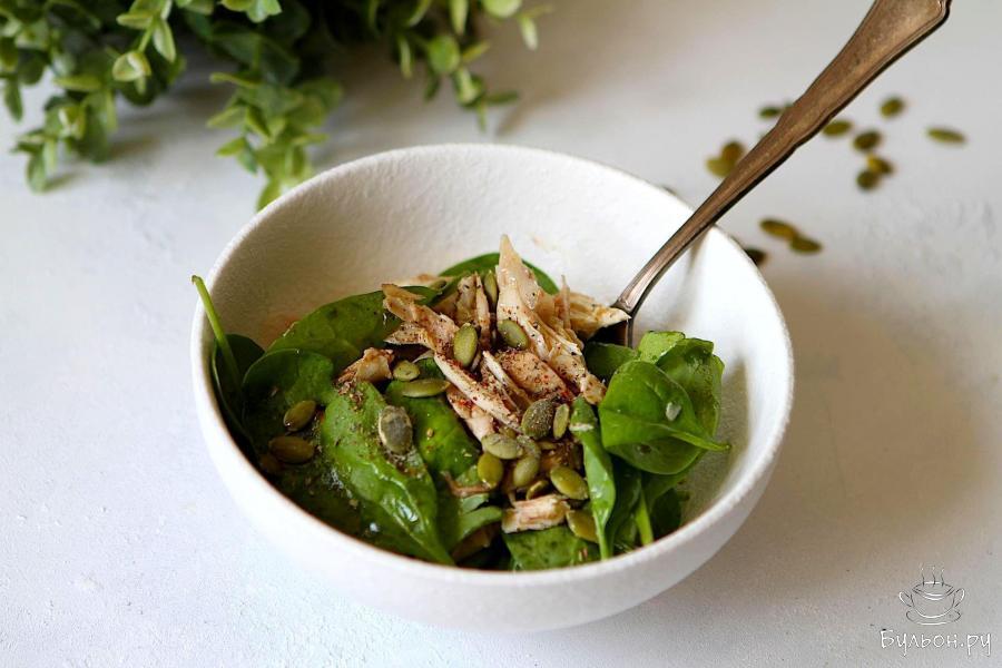 Салат из шпината с курицей - пошаговый рецепт с фото